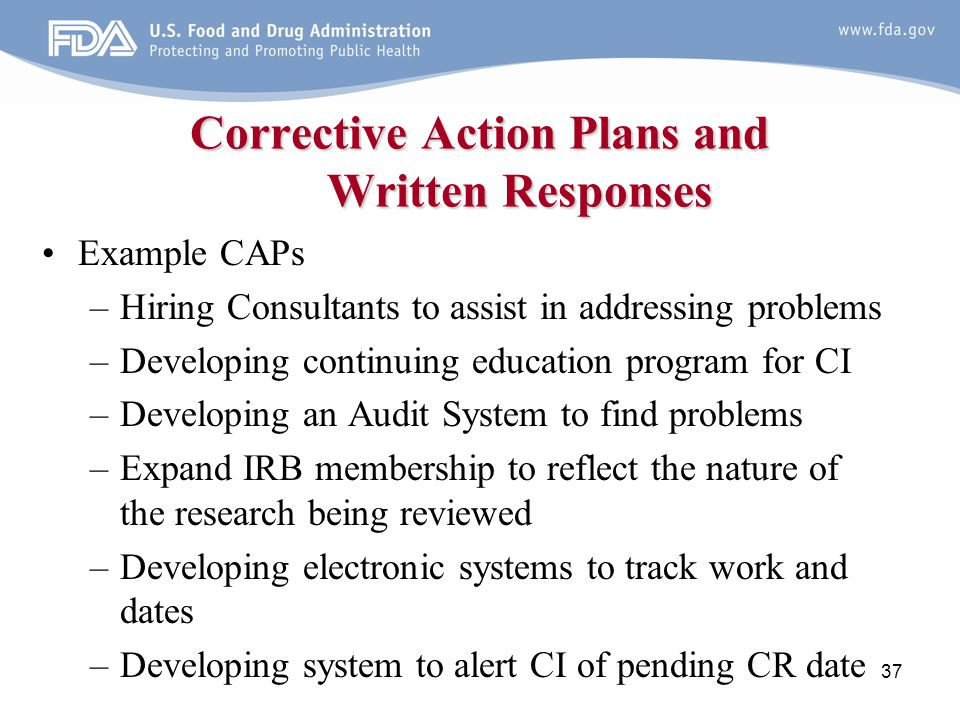 Corrective Action Plans and Written Responses