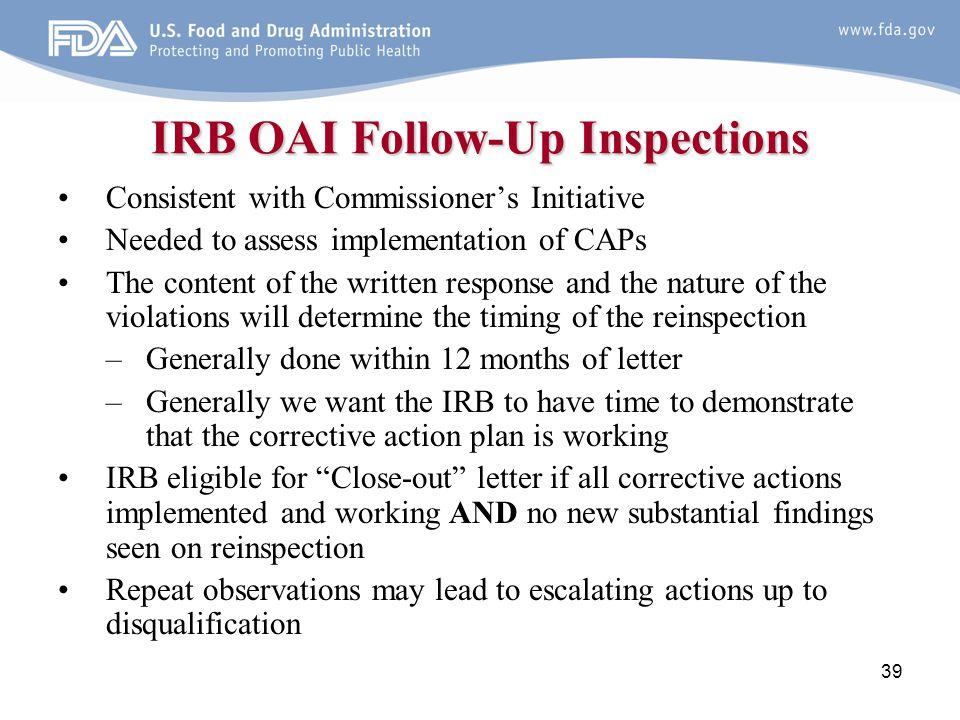 IRB OAI Follow-Up Inspections