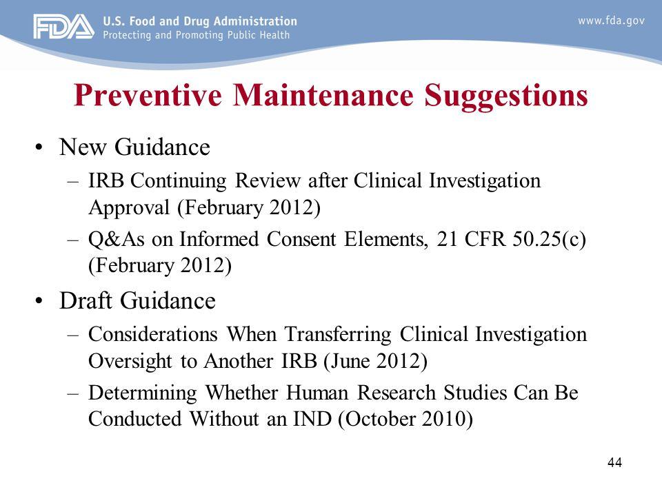 Preventive Maintenance Suggestions