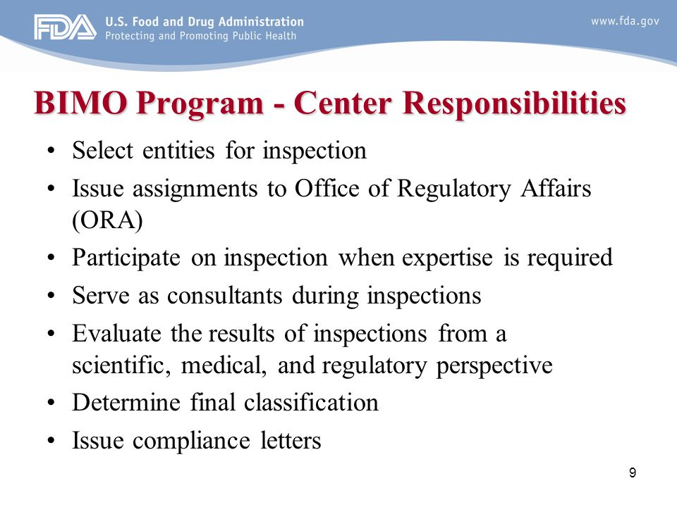 BIMO Program - Center Responsibilities