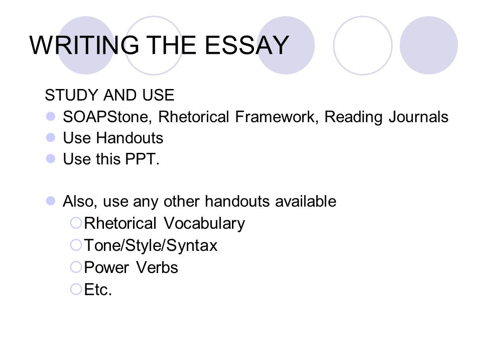 WRITING THE ESSAY Rhetorical Vocabulary Tone/Style/Syntax Power Verbs