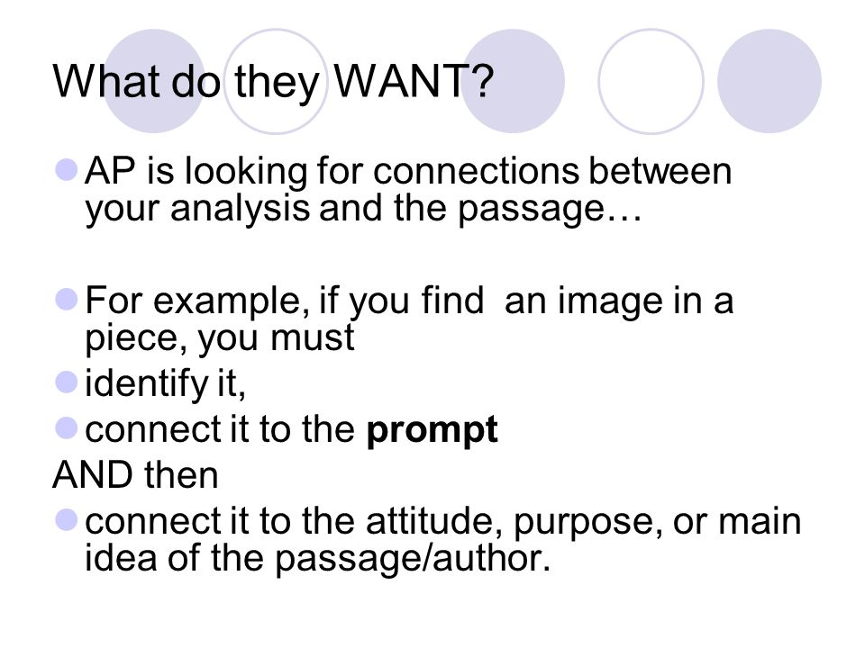 What do they WANT AP is looking for connections between your analysis and the passage… For example, if you find an image in a piece, you must.