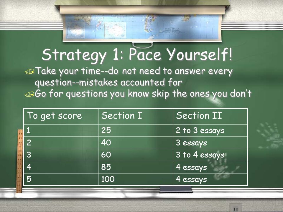 Strategy 1: Pace Yourself!