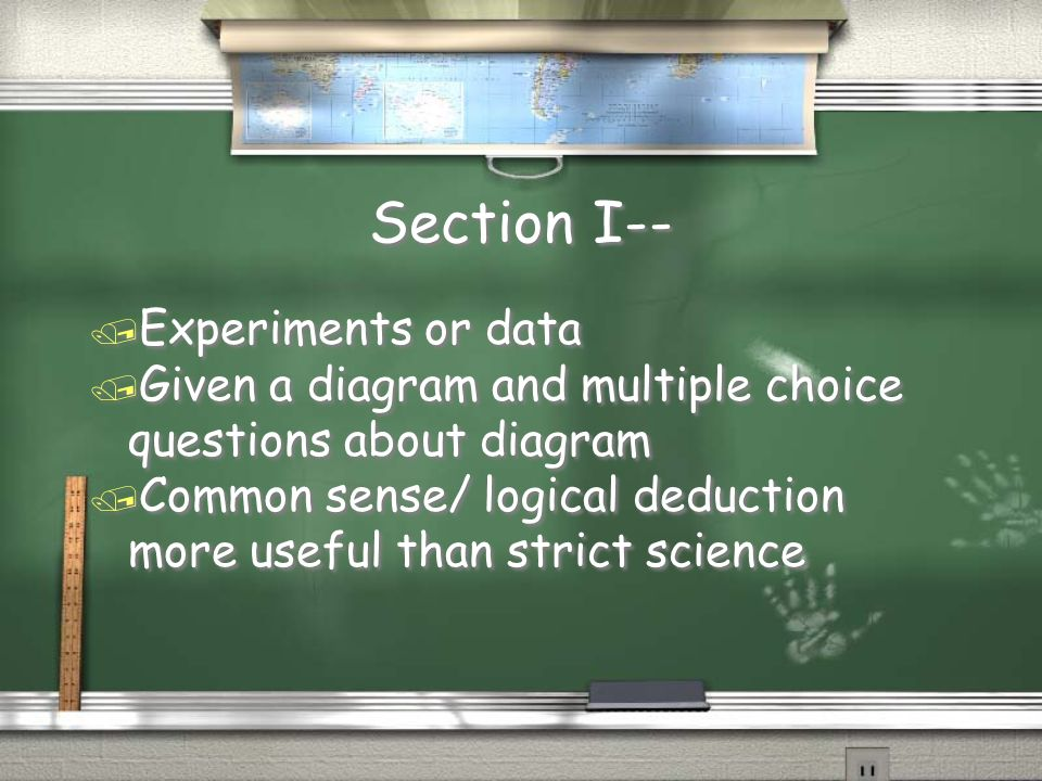 Section I-- Experiments or data