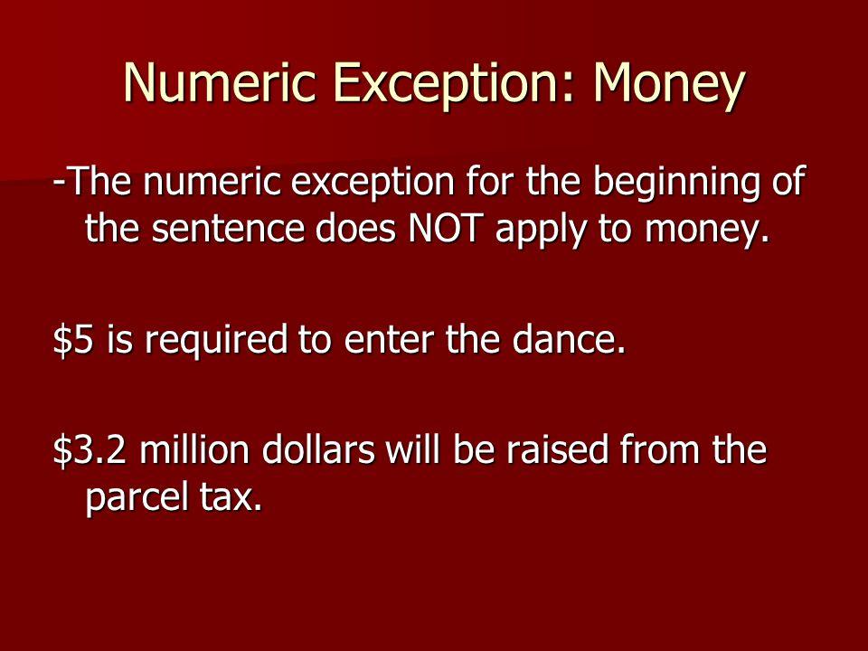 Numeric Exception: Money