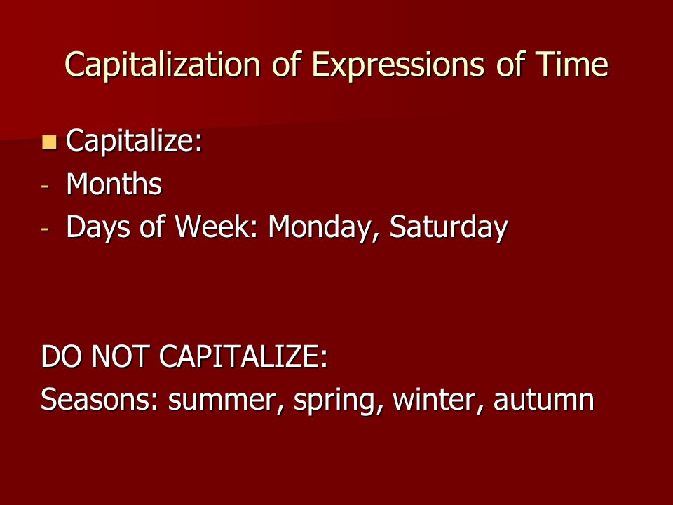 Capitalization of Expressions of Time