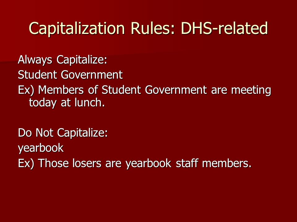 Capitalization Rules: DHS-related