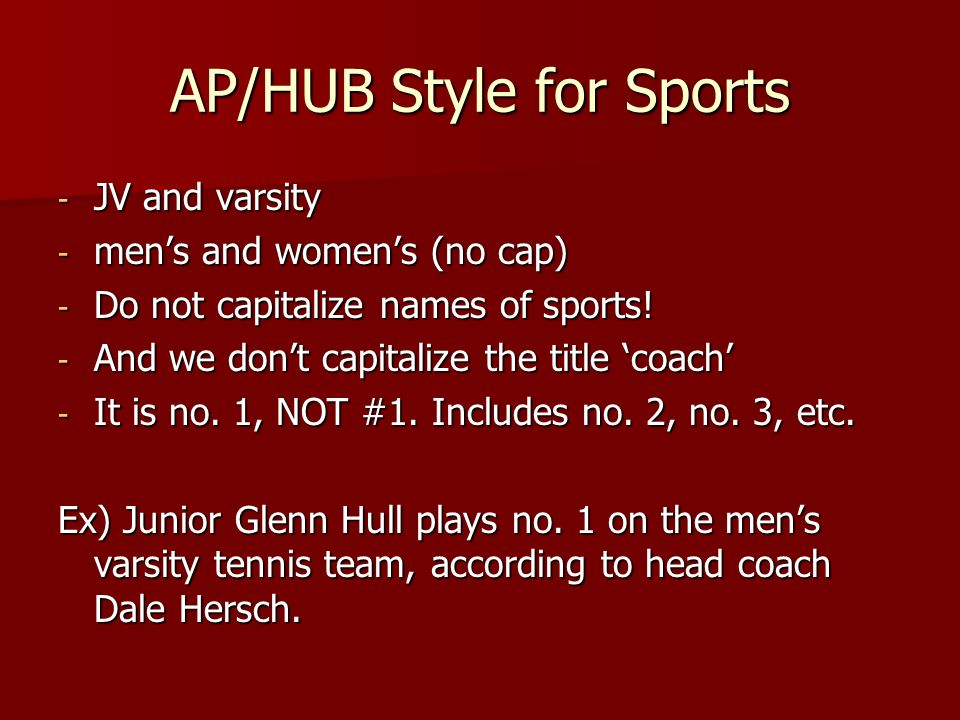 AP/HUB Style for Sports