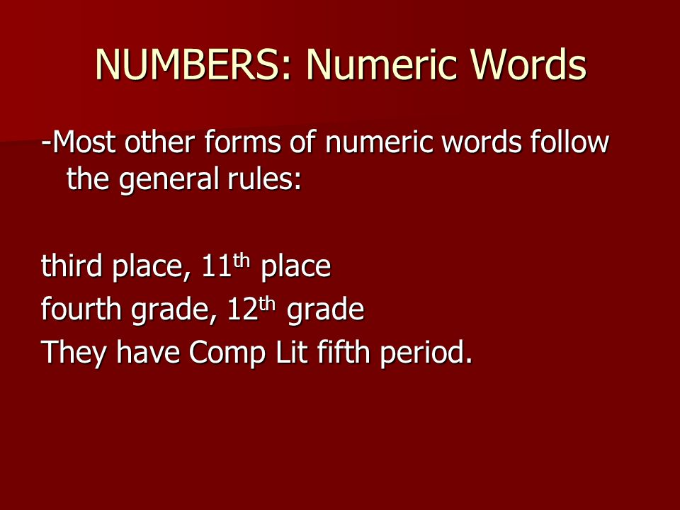 NUMBERS: Numeric Words