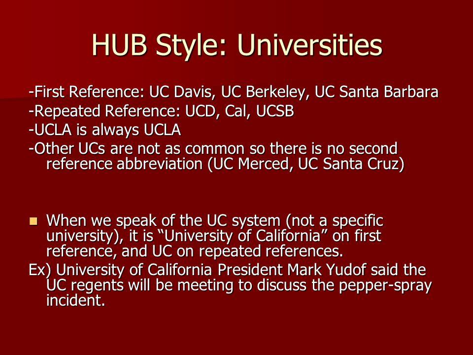 HUB Style: Universities