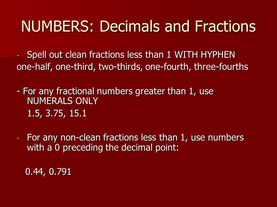 NUMBERS: Decimals and Fractions