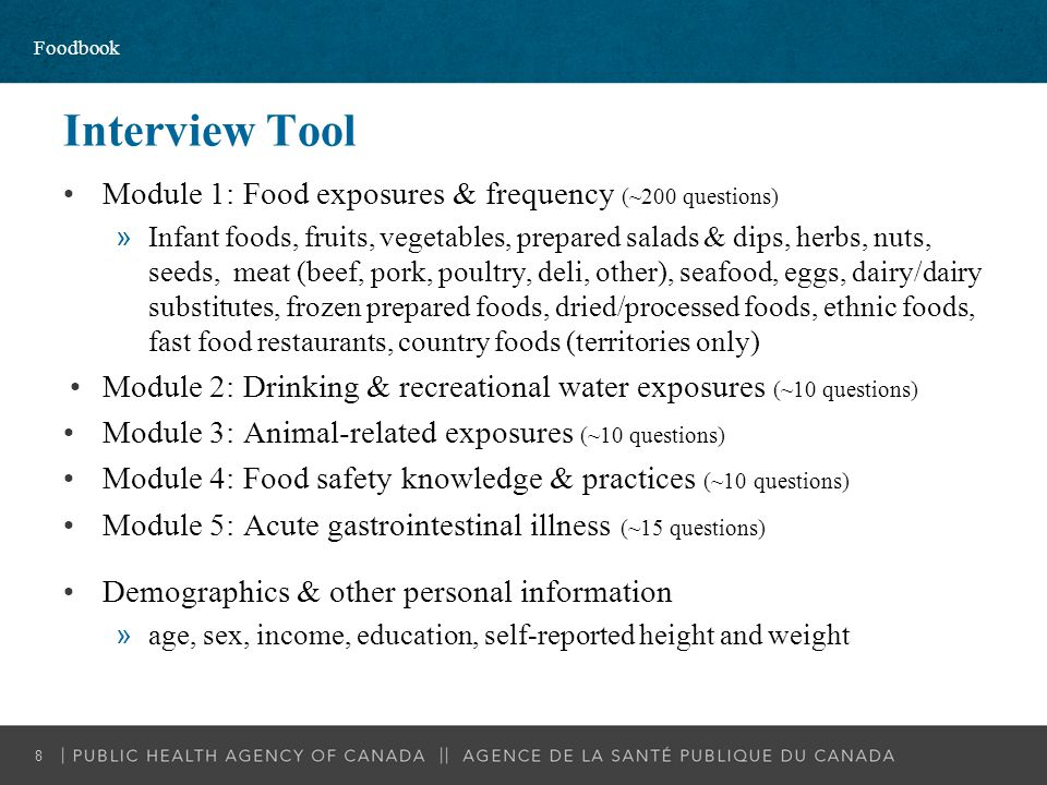 Interview Tool Module 1: Food exposures & frequency (~200 questions)