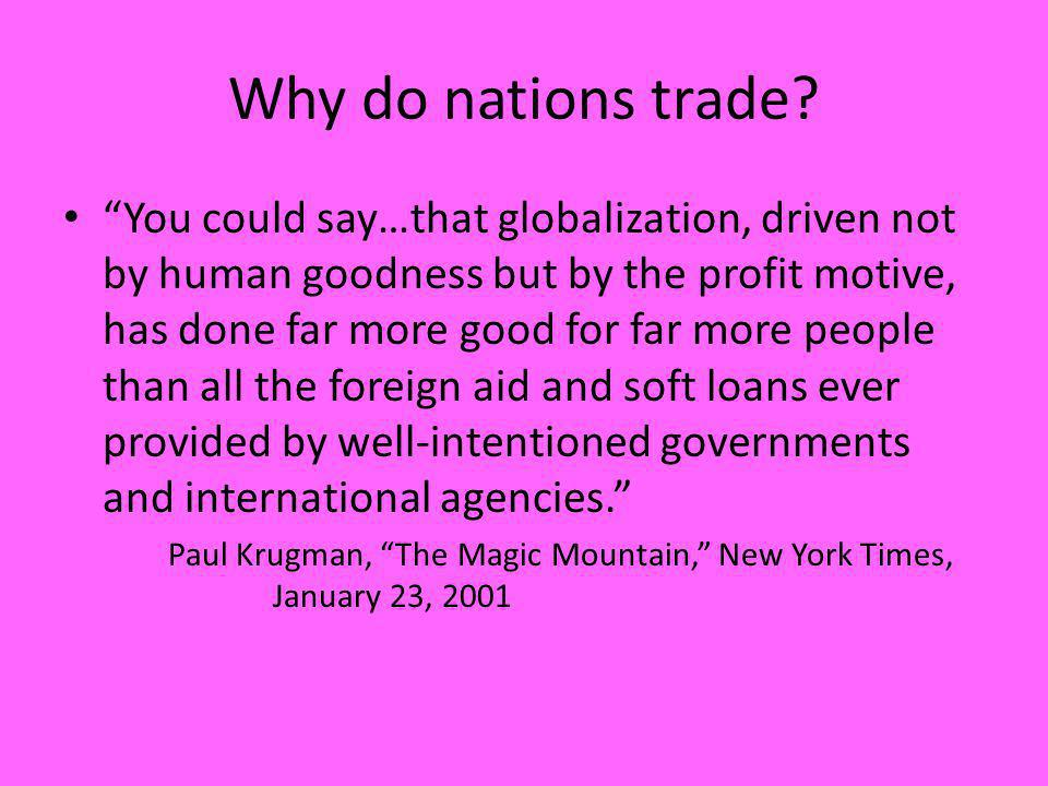Why do nations trade