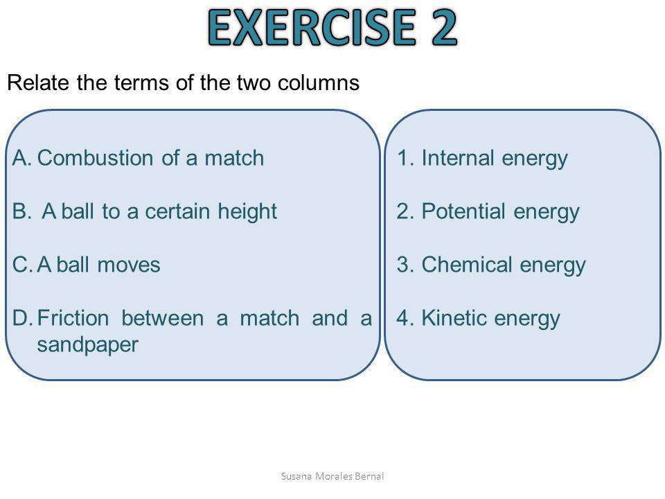 EXERCISE 2 Relate the terms of the two columns Combustion of a match