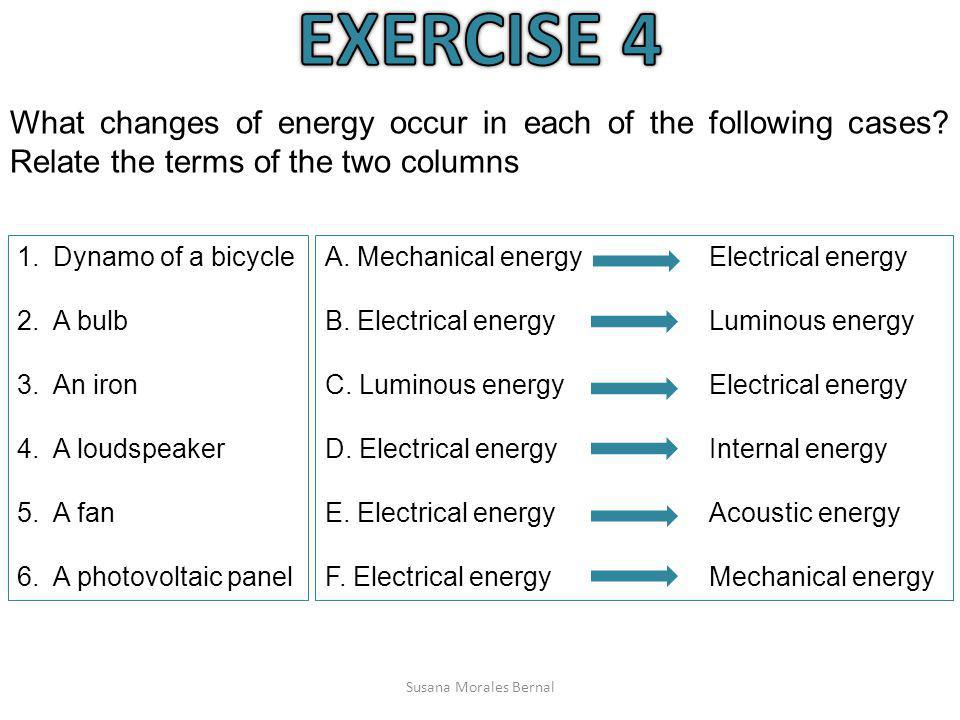 EXERCISE 4 What changes of energy occur in each of the following cases Relate the terms of the two columns.