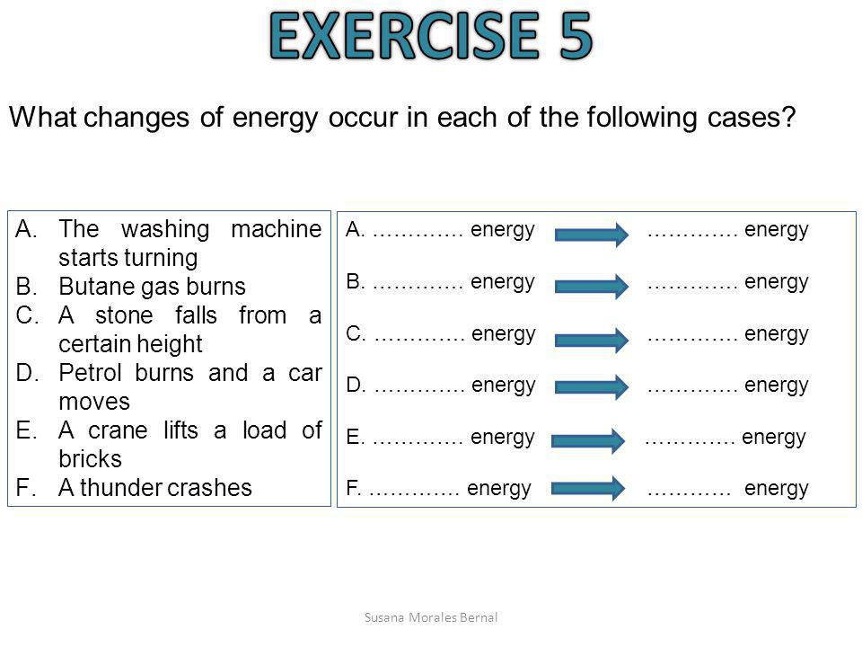 EXERCISE 5 What changes of energy occur in each of the following cases The washing machine starts turning.