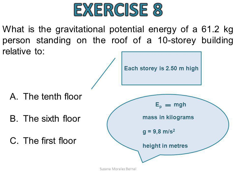 EXERCISE 8 What is the gravitational potential energy of a 61.2 kg person standing on the roof of a 10-storey building relative to: