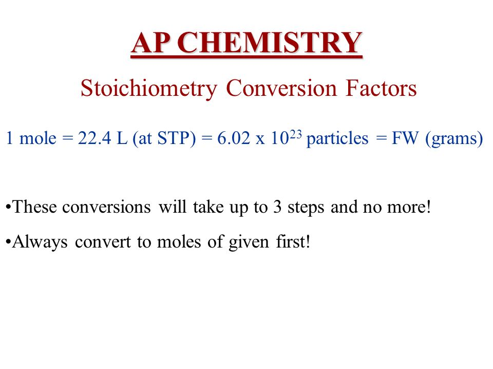Stoichiometry Conversion Factors