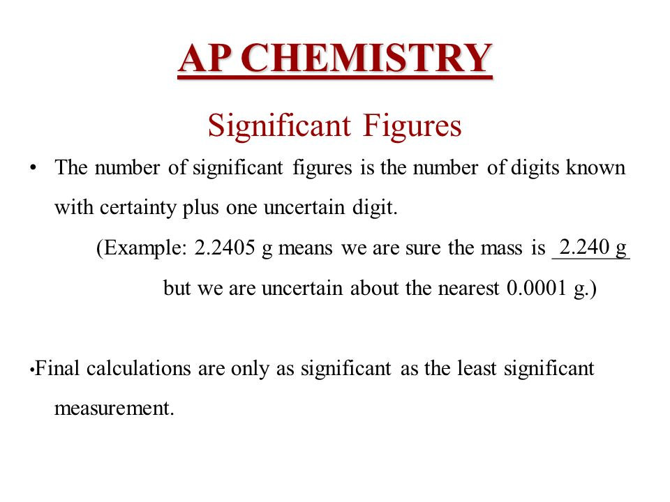 AP CHEMISTRY Significant Figures