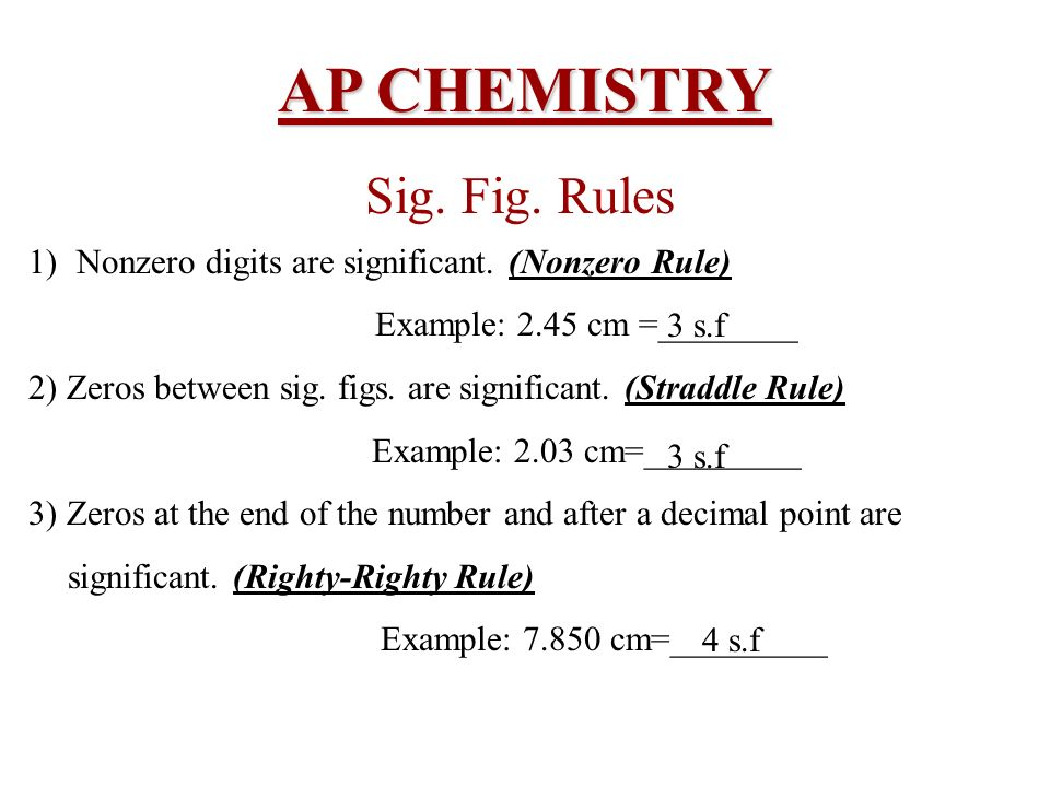 AP CHEMISTRY Sig. Fig. Rules