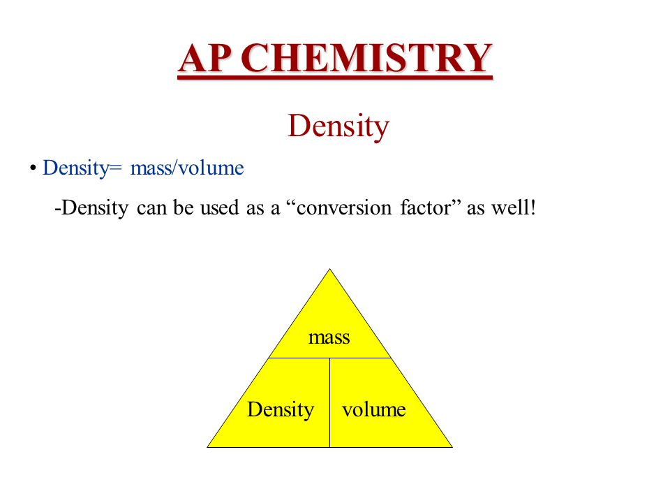 AP CHEMISTRY Density • Density= mass/volume