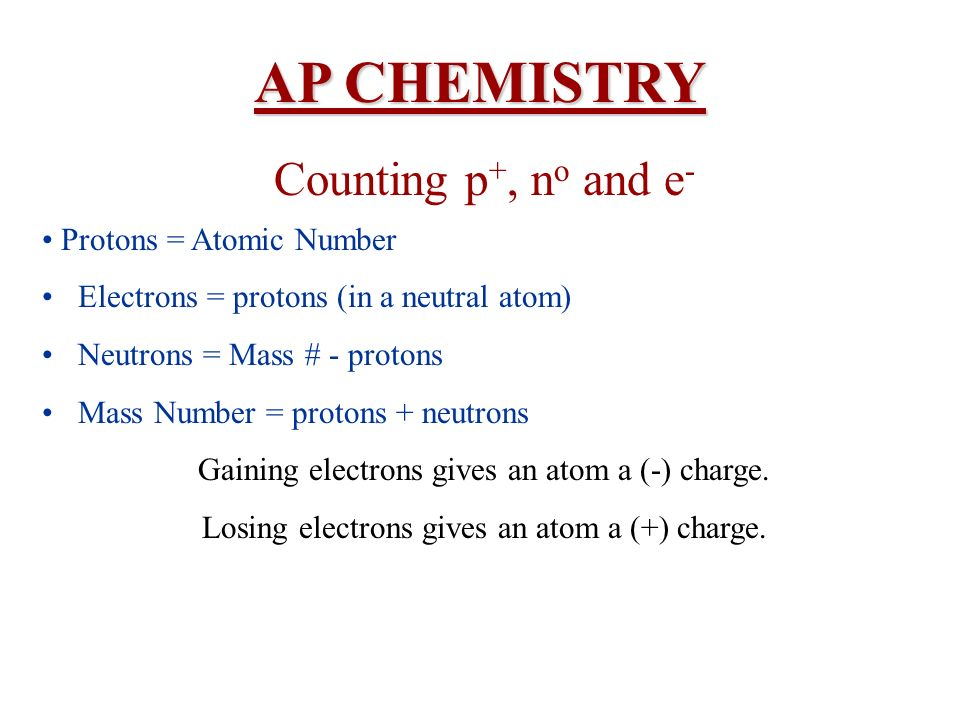 AP CHEMISTRY Counting p+, no and e- • Protons = Atomic Number