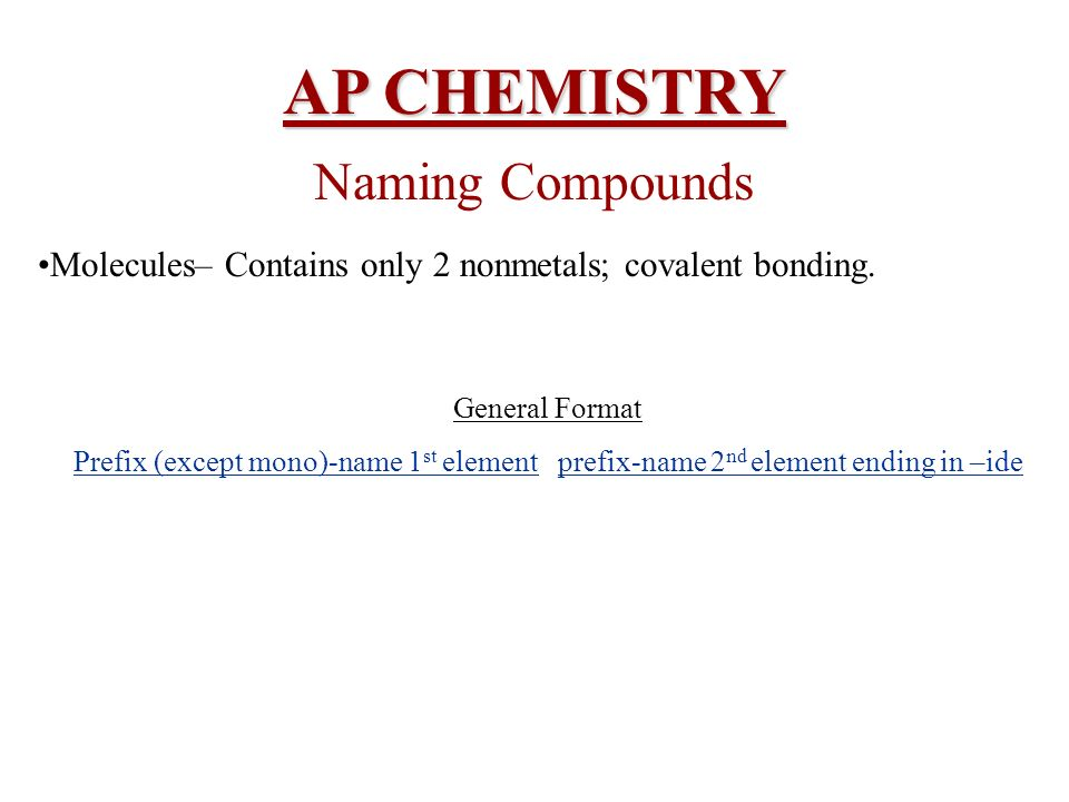 AP CHEMISTRY Naming Compounds