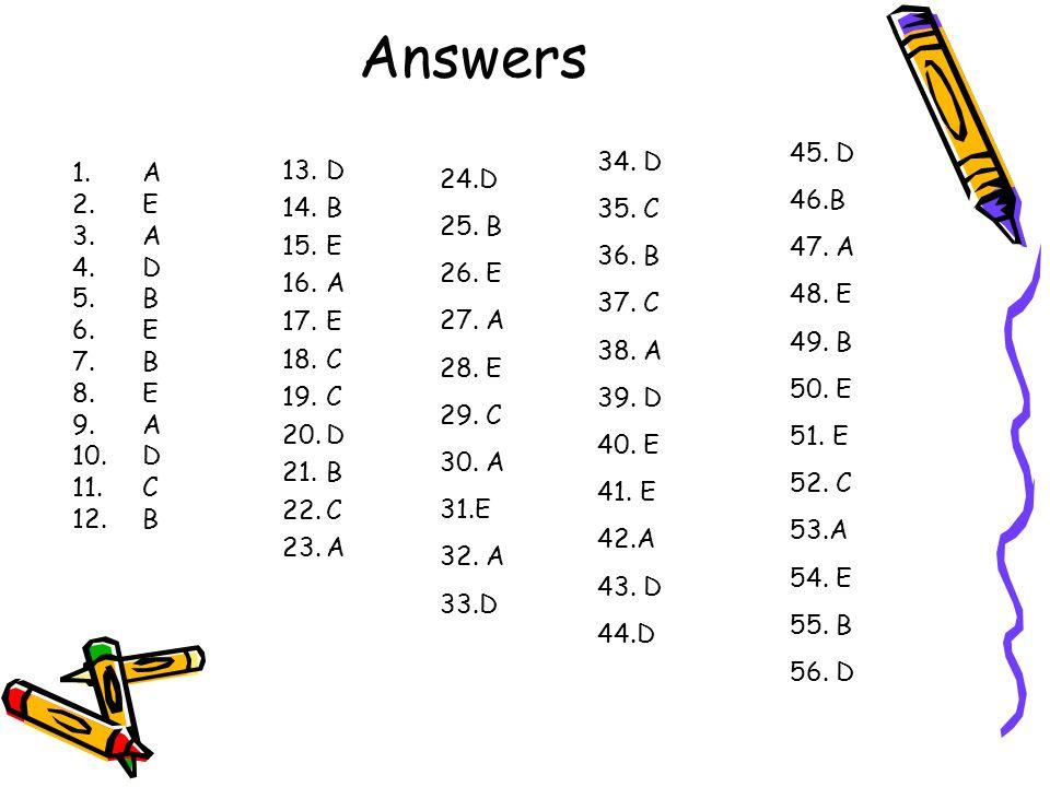 Answers 45. D. 46.B. 47. A. 48. E. 49. B. 50. E. 51. E. 52. C. 53.A. 54. E. 55. B. 56. D.