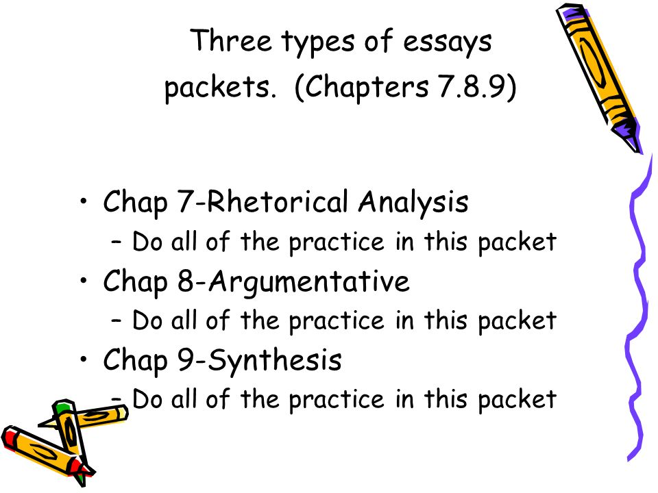 Three types of essays packets. (Chapters 7.8.9)