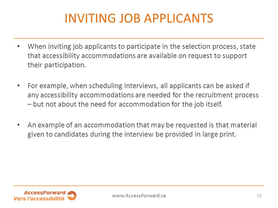 Inviting job applicants