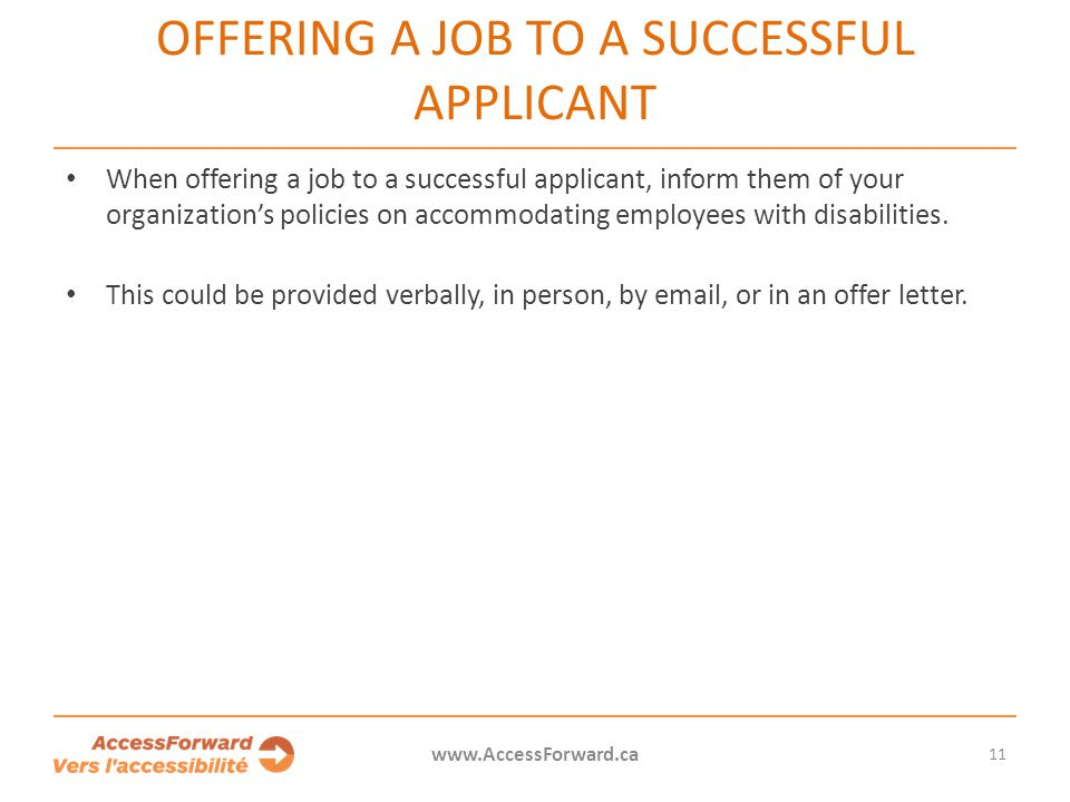 Offering a job to a successful applicant