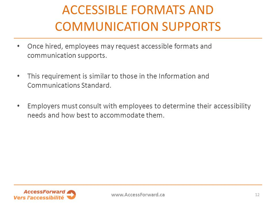 Accessible formats and communication supports
