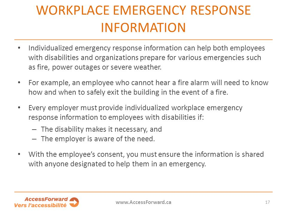 Workplace emergency response information