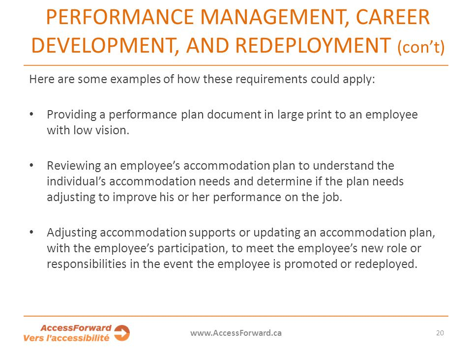 PERFORMANCE MANAGEMENT, CAREER DEVELOPMENT, AND REDEPLOYMENT (con't)