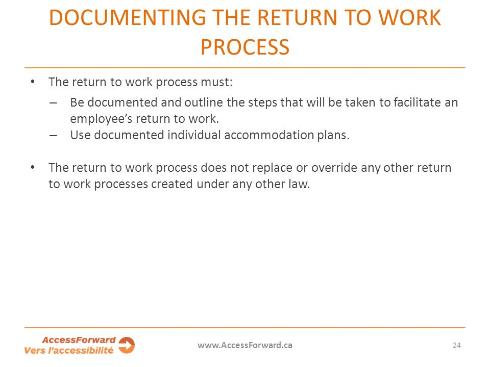 Documenting the return to work process