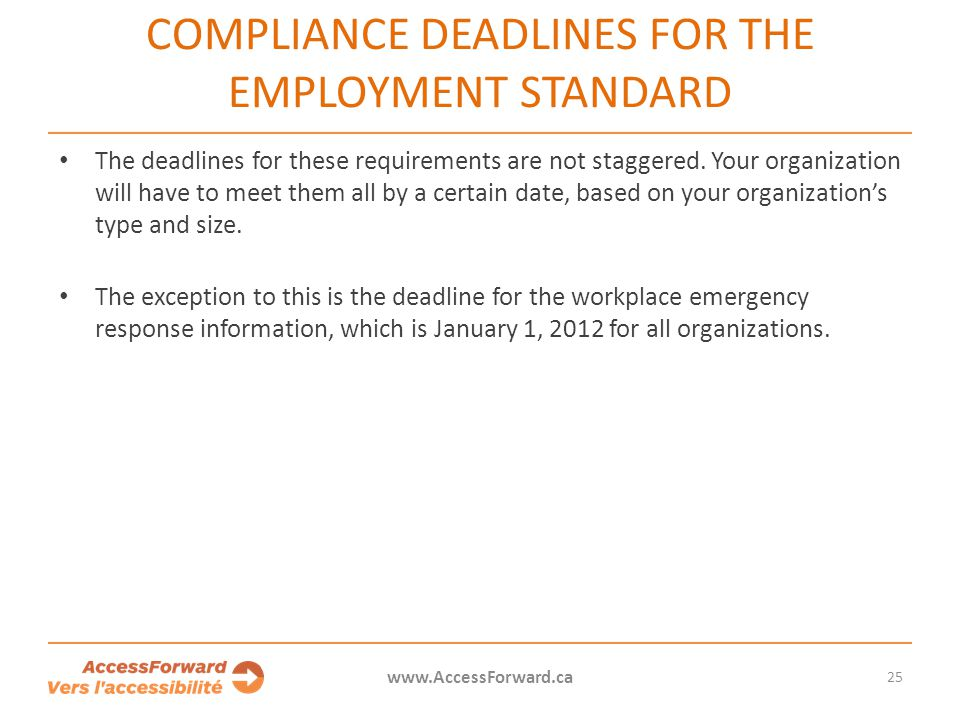 Compliance deadlines for the Employment Standard