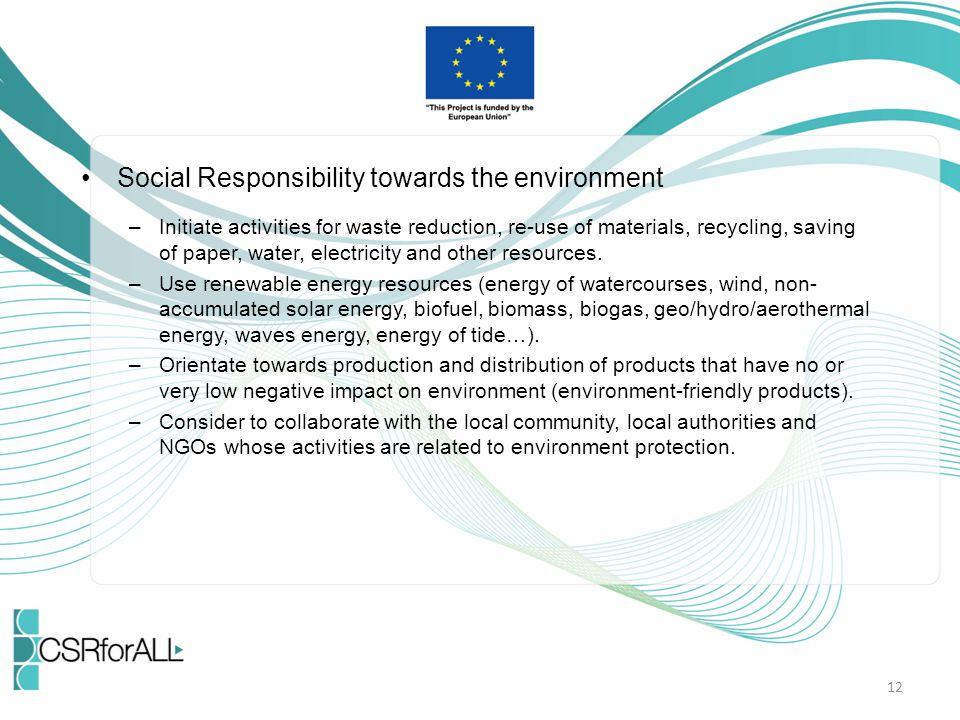 Social Responsibility towards the environment