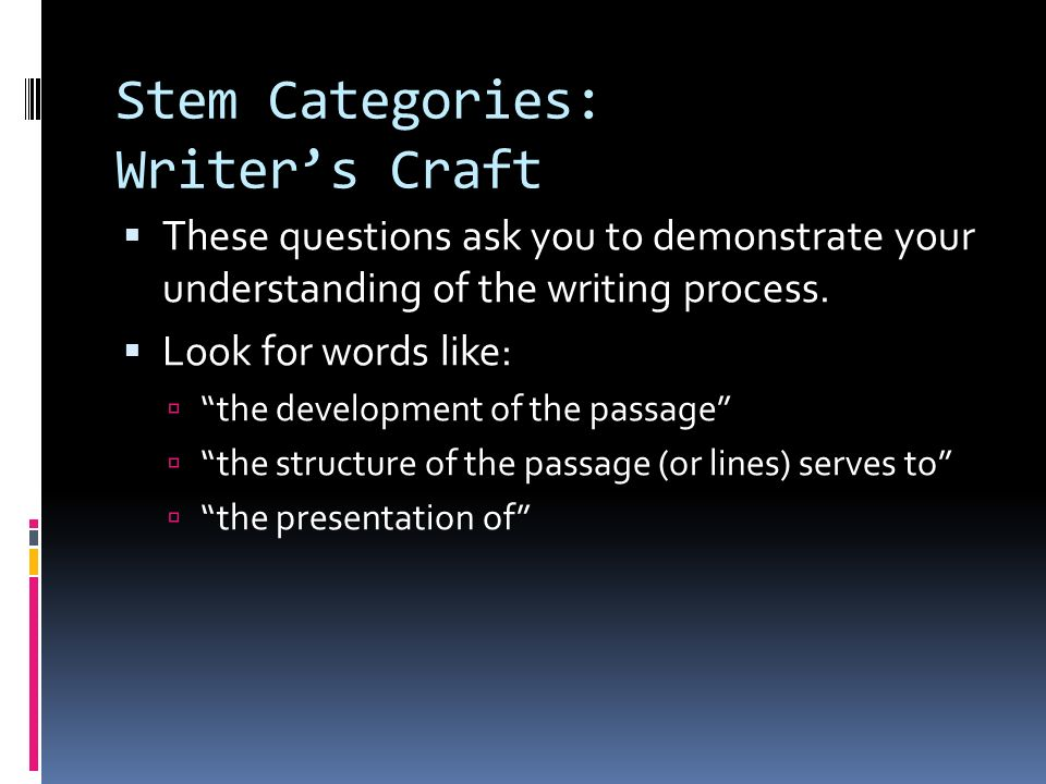 Stem Categories: Writer's Craft
