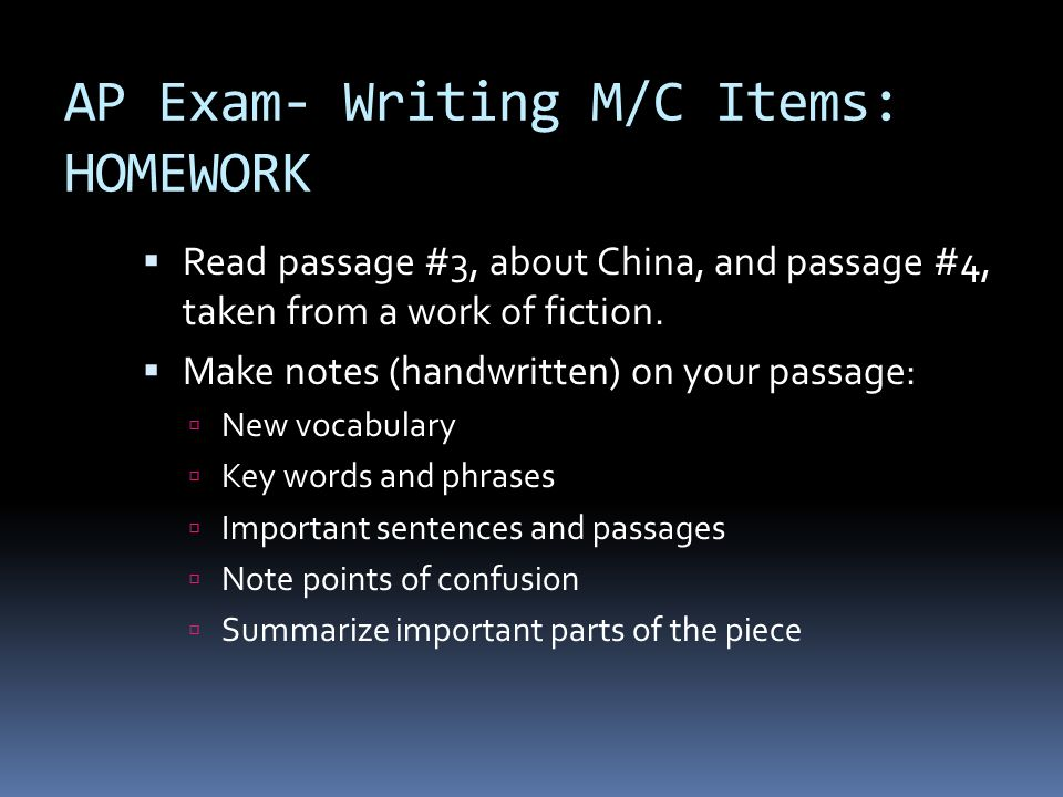 AP Exam- Writing M/C Items: HOMEWORK