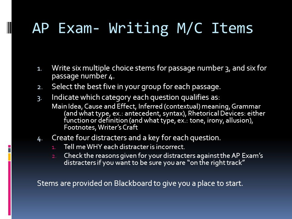 AP Exam- Writing M/C Items