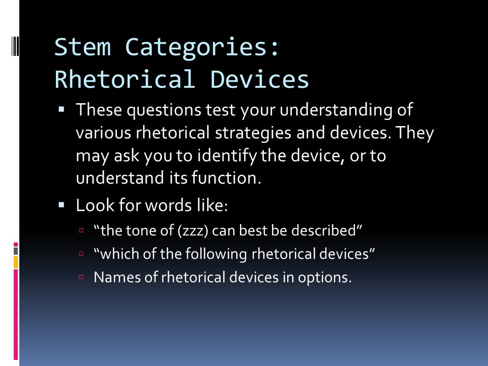 Stem Categories: Rhetorical Devices