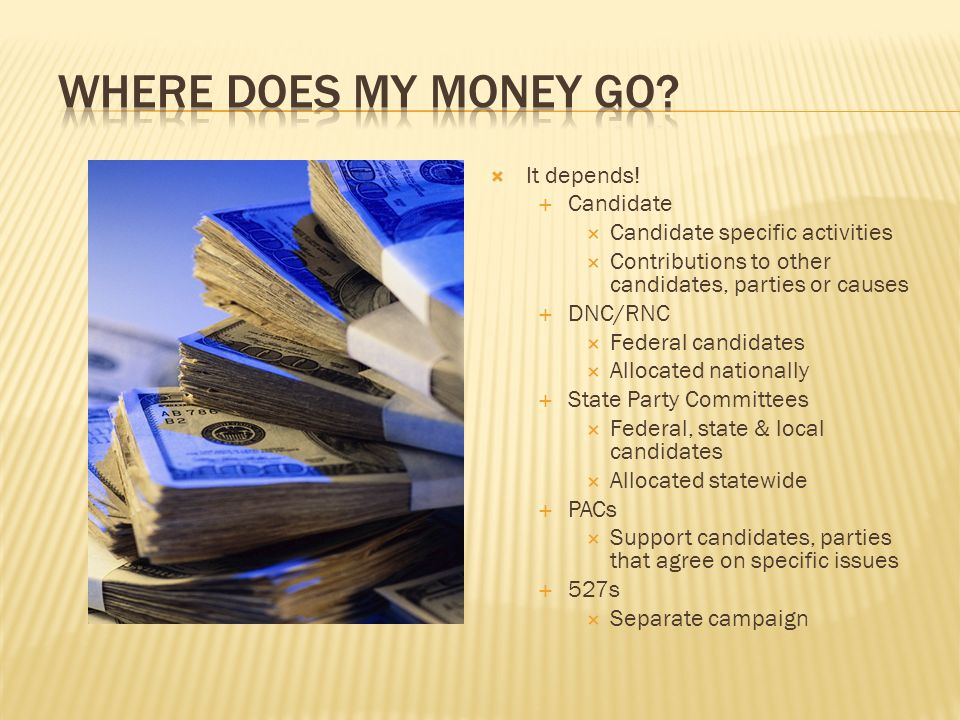 Where does my money go It depends! Candidate