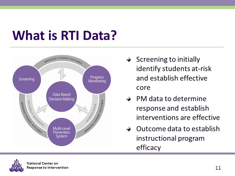 What is RTI Data Screening to initially identify students at-risk and establish effective core.