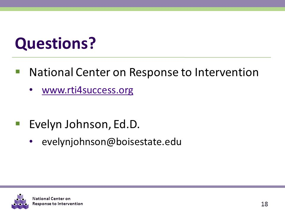Questions National Center on Response to Intervention