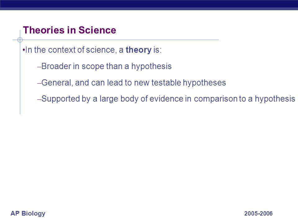 Theories in Science In the context of science, a theory is: