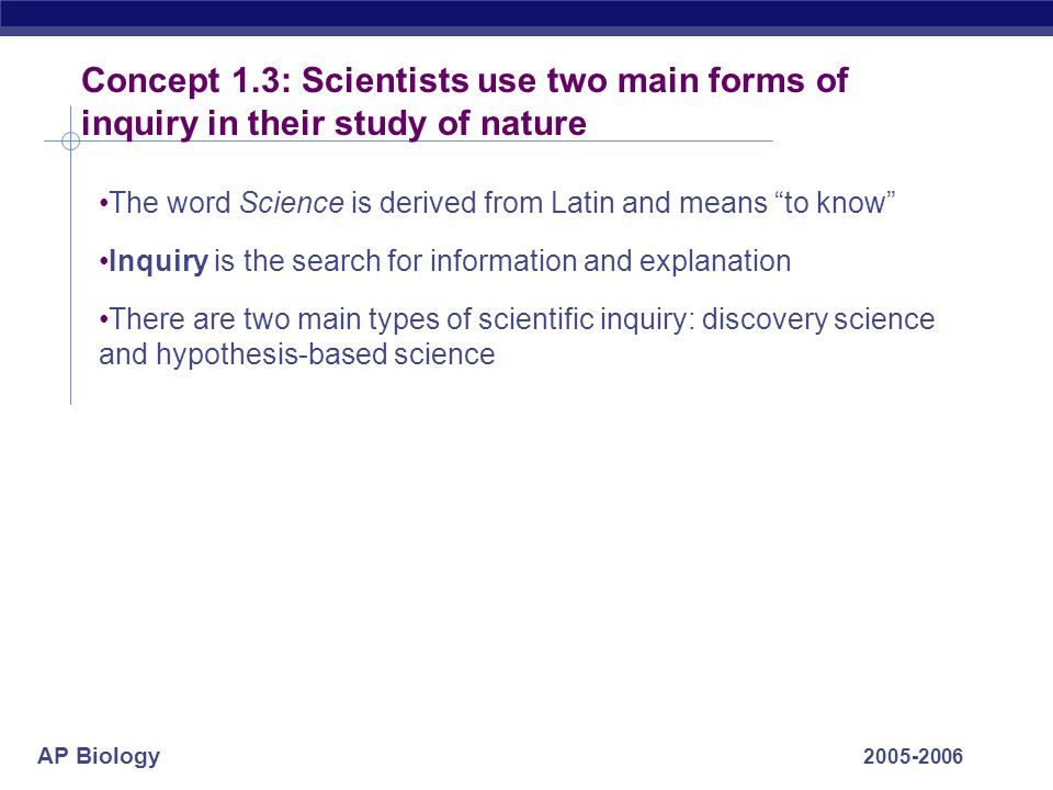Concept 1.3: Scientists use two main forms of inquiry in their study of nature