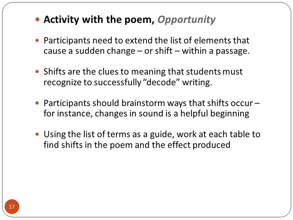 Activity with the poem, Opportunity