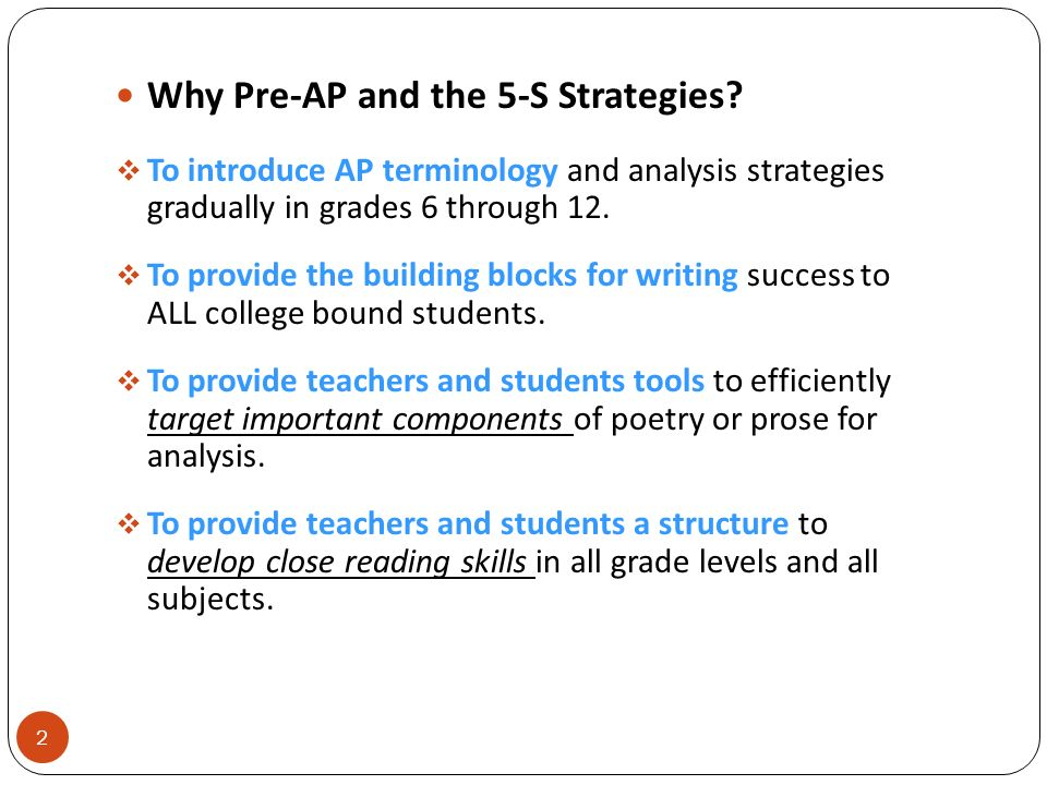 Why Pre-AP and the 5-S Strategies