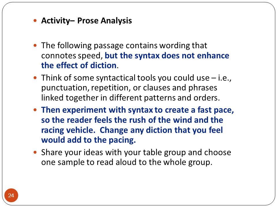 Activity– Prose Analysis
