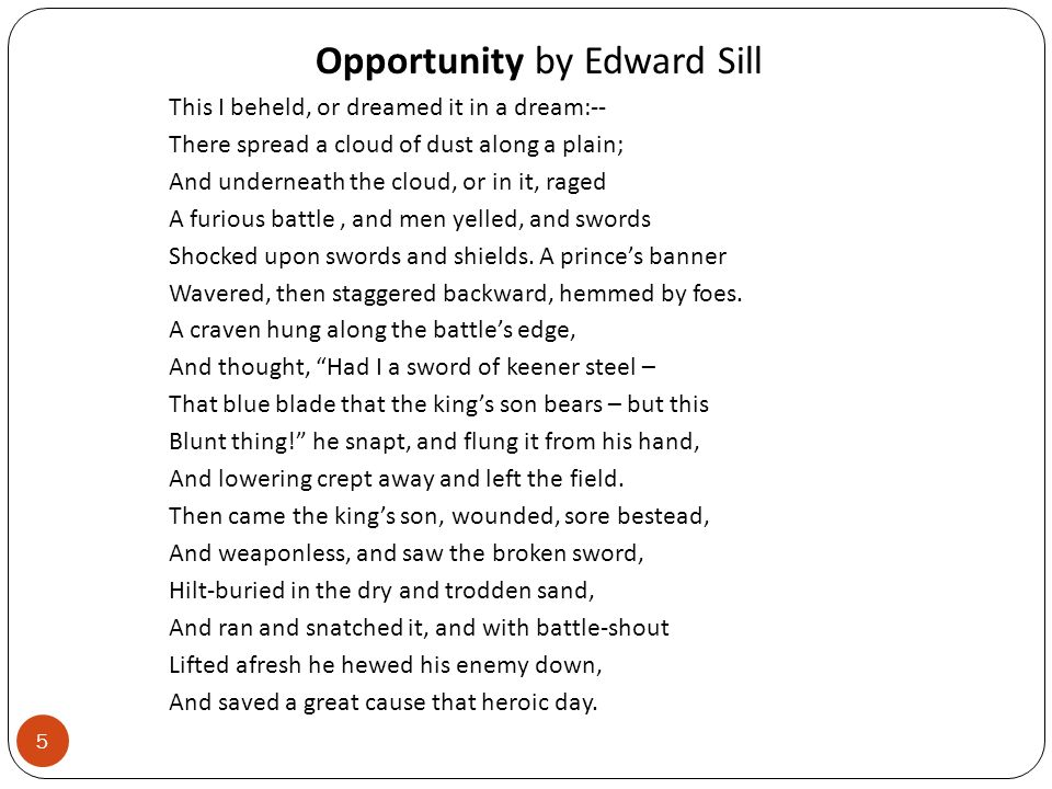 Opportunity by Edward Sill